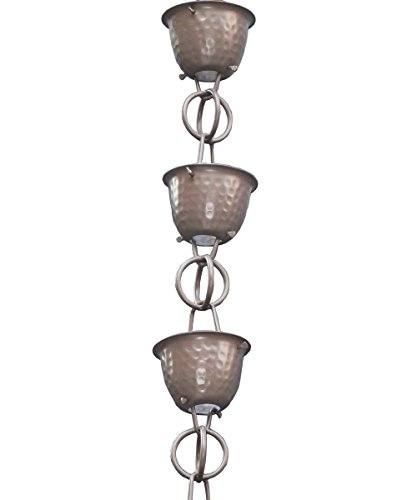 Monarch Aluminium gehämmert Tasse Regen Kette, 8-1/2Füße Länge (Zinn Bronze) 8.5' Beaver Brown -