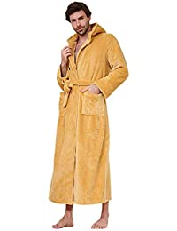 95a035563c ShineGown Flannel Bathrobe Men s Pajamas Long Hooded Cardigan Night Gown  Warm Home Clothing Cozy
