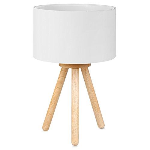 Tomons Lampe De Chevet En Bois A Trepied Abat Jour Classique En Tissu Parfait Pour Chambre Salon Salle D Etude Et Bureau Hauteur De 39