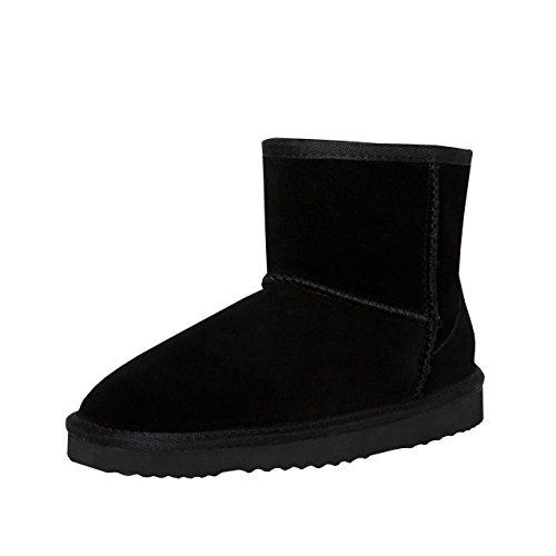 Mit Gefüttert Stiefel Fell (SKUTARI Wildleder Damen Winter Boots | Extra Weich & Warm Gefüttert | Schlupf-Stiefel mit Stabile Sohle | Pailletten Glitzer Meliert Schlangen-Look (39 EU, Black 2))