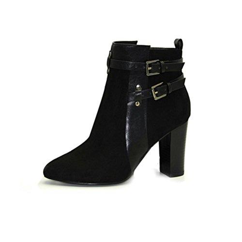 QPYC Stivali femminili con tacco ruvido Cerniera laterale Stivali con tacco alto e fibbia laterale black