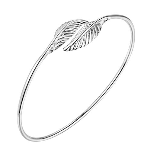 WFYJY-Zwei Blätter Dünne Ringe Armband Hosenträger 925Er Silber-Armband Einfache Wilde Seite Schmuck Accessoires Geschenke.