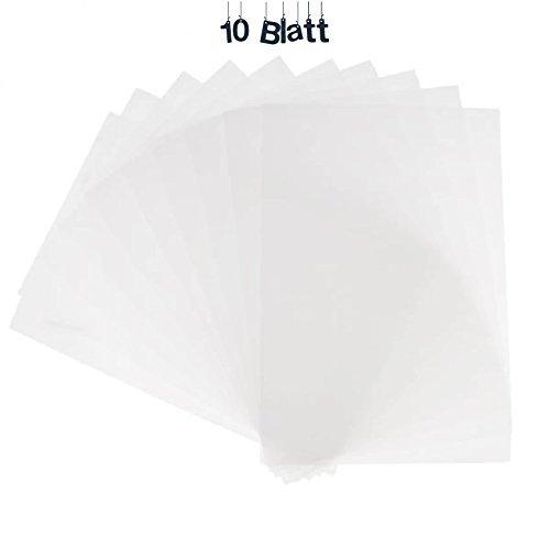 YooKreativ Schrumpffolie, Schrumpffolienplatten, Matt transparent, 10 Blatt, Plastik-Schrumpffolien, Blatt 20x30 cm.