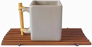 "Tea Mug ""Japan"" Artistic Japanese squared Japan design White Porcelain Mug Cup - Ceramic - Handle made of bambu wood - Bamboo Coaster Serving Tray - Milk Coffee Tea Chocolate Mather's Day Gift"