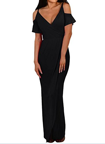 DINGANG Frauen sexy trägerlos Volants tiefer V-Ausschnitt Kurzarm-Kleid großes Schaukel Kleid lässig Kleid Schwarz