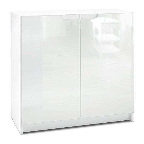 Vladon Kommode Büroschrank Aktenschrank Büromöbel Logan, Korpus in Weiß matt/Fronten in Weiß Hochglanz