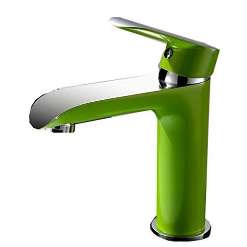 Grüne Farbe Wasserhahn Kupfer Einlochmontage Warmes und kaltes Bad Waschbecken Mischventil Öffnung 32MM bis 40MM installiert werden kann