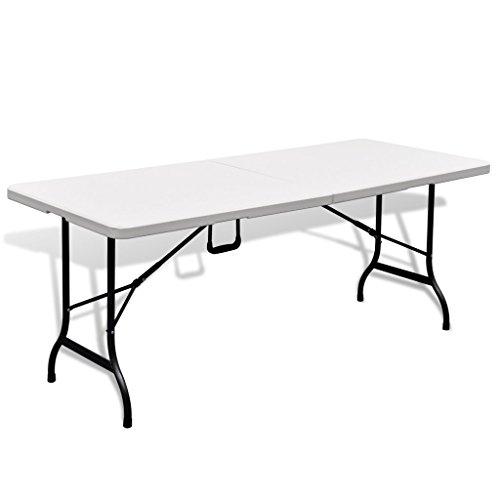 Preisvergleich Produktbild Festnight Campingtisch Klapptisch Buffettisch Gartentisch aus HDPE mit Tragegriff 180 x 75 m Weiß Faltbar