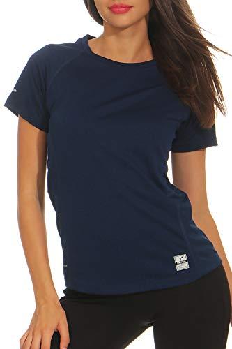 Happy Clothing Damen Sport T-Shirt kurzarm Trikot Sommer Funktionsshirt Fitness Top, Größe:S, Farbe:Dunkelblau