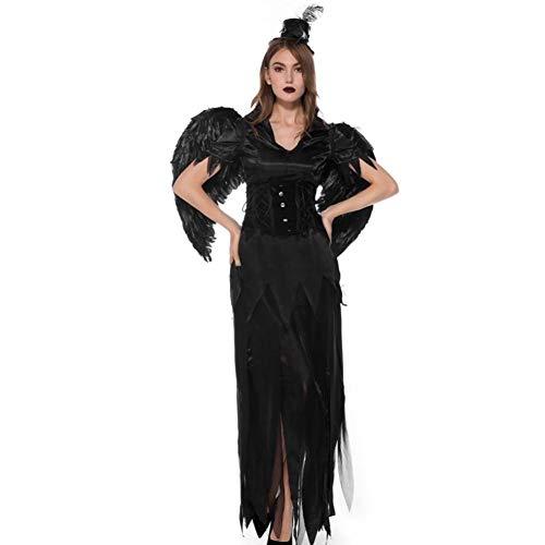 GBYAY Erwachsene Schwarze Hexe Engel Kleid Kleidung Frauen Kleidung Kinder Teufel Halloween Kostüm Cosplay (Einfach Zu Machen Kostüm Für Jungs)