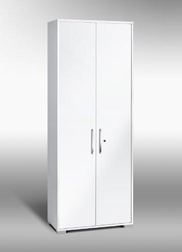 MAJA-Möbel 1232 3956 Aktenregal mit Türen, Icy-weiß - weiß Hochglanz, Abmessungen BxHxT: 80 x 214,5 x 40 cm