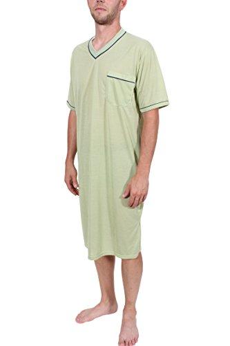 Herrennachthemd Schlafanzug Pyjama Sleepshirt kurzarm Grün