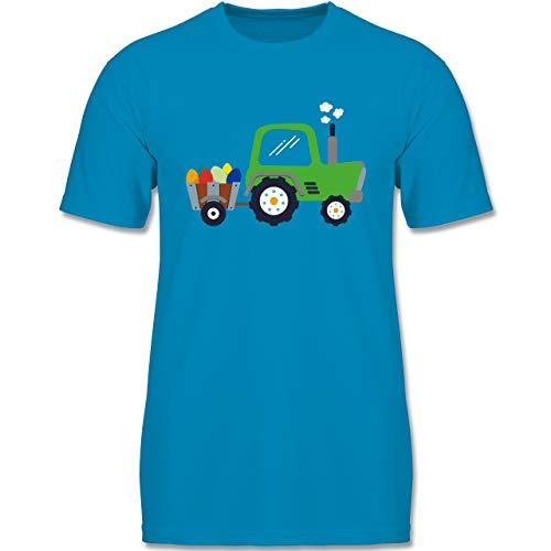 Anlässe Kinder - Ostereier-Traktor - 152-164 (12-14 Jahre) - Azurblau - F140K - Jungen T-Shirt