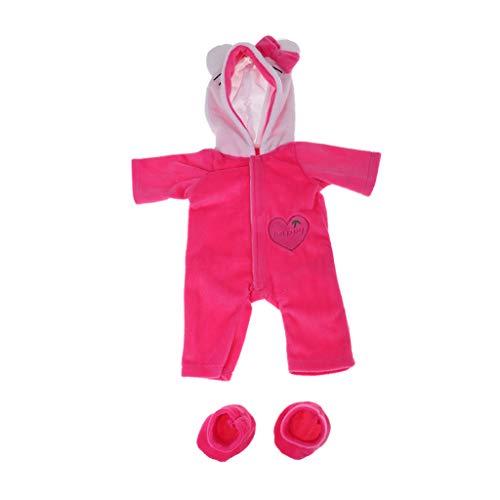 FLAMEER Niedliche Puppe Plüsch Kleidung Kapuze Strampler Overall und Socken für 17 Zoll Babypuppen - Rosa Katze