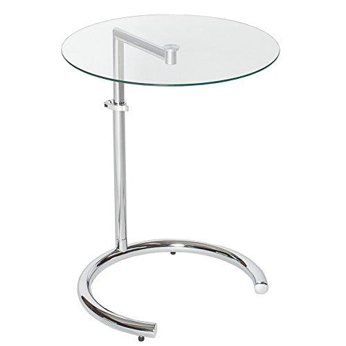 Design Beistelltisch EFFECT 50 - 70 cm Chrom Glas höhenverstellbar Tisch Glasplatte Glastisch