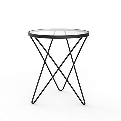 ZYHua Table d'art en fer, table de thé multifonctionnelle avec balcon et balcon Boutique de desserts en verre Chambre à coucher Salon Table basse Haute qualité (Couleur : NOIR)