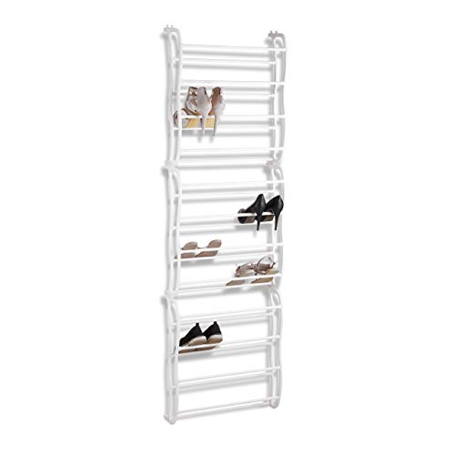 Relaxdays Türschuhregal, zum Einhängen, Schuhregal für Tür, Hängeorganizer, variabel für ca. 36 Schuhe, 12 Fächer, weiß