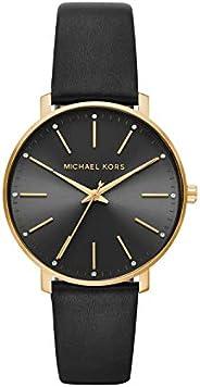ساعة انالوج بايبر للنساء بمينا باللون الاسود وبسوار جلد من مايكل كورس - MK2747