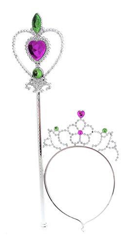 Fee Set Stab Diadem-Krone Prinzessin Kostüm Zubehör Accesoires Fasching Karneval (1 Set Herz)