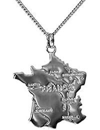 Collier Pendentif carte FRANCE en argent massif 925 neuf avec chaine pour  femme 45cm avec ecrin 8d4954e398a