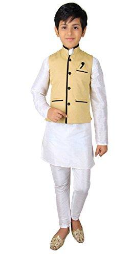 Jungen Indian Modi Nehru Gandhi Style Weste für Bollywood Thema Kostüm Party London 004 - Leichte Gold, 12 ( 12 (Kinder Jungen Kostüm Indien Für)