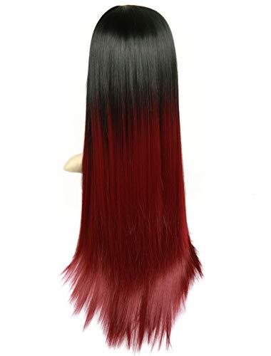 High Density hitzebeständige synthetische Faser gerade Perücken für Frauen Ombre Rosa/Grau/BUG Glueless Natural Hair Wig-in Synthetic None, T1B / Burgund, 26inches (Jetson Kostüm)