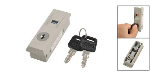 Electric Cabinet Gray Plastic Plane Lock w 2 Pcs Keys