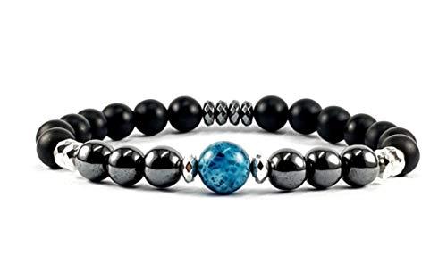 Bracciale uomo'TOTEM' braccialetto uomo con pietre naturali di onice nero ed ematite da 8mm,con pietra centrale di apatite blu da 10mm.Diametro circa 20 cm