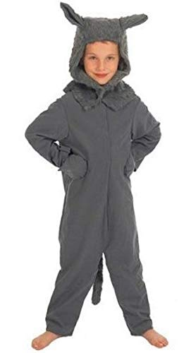 Fancy Me Mädchen Jungen Kinder Kinder Großer Böser Wolf Büchertag Halloween Kostüm Kleid Outfit 4 bis 10 Jahre - grau, 6-8 Years (128cms) (Kostüm Wolf-schwanz, Halloween)