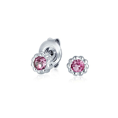 Bling Jewelry Pink Tourmaline October Birthstone Stud earrings 925 Sterling Silver 5mm