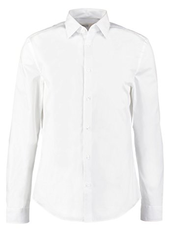Pier One Herren Hemd einfarbig in Weiß Herrenhemd Slim Fit mit Langarm, 2XL (Polo Ralph Lauren-männer Knopf)