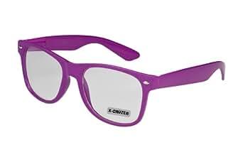 Nerd Brille ohne Stärke Vintage Retro Style Stil Klarglas Hornbrille Modebrille Streberbrille lila