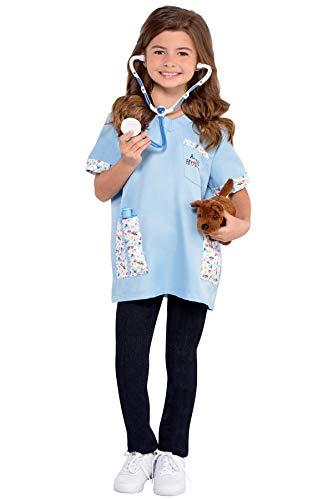 shoperama Tierarzt Tierärztin Kostüm für Kinder mit Hund 4-6 Jahre Mädchen Junge Kinderkostüm Arzt Doktor