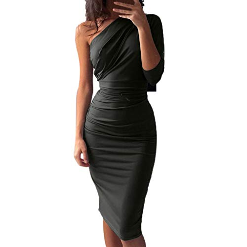 Vestiti donna abito elegante sexy donna retro eleganti una spalla vestito pieghettato pacchetto hip vestito sottile maxi lungo prom abiti da donna casual abito donna sera festa cocktail vestito