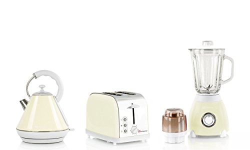 Wasserkocher, Toaster und Mixer Set, Edelstahl - Creme