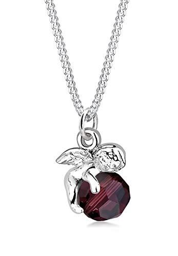Elli Damen Schmuck Halskette Kette mit Anhänger Engel Kugel Flügel Schutzengel Himmel Silber 925 Swarovski® Kristalle Rot Länge 45 cm