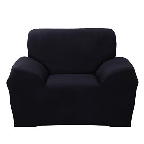 ele ELEOPTION Sofa Überwürfe Sofabezug Stretch elastische Sofahusse Sofa Abdeckung in Verschiedene Größe und Farbe Herstellergröße 145-185cm (Schwarz, 2 Sitzer für Sofalänge 130-170cm)