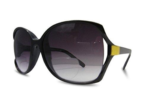 Bifokal-Sonnenbrille von Cheri, getönte Lesebrille, übergroßes Vintage-Design, mit UV-Schutz, Schwarz