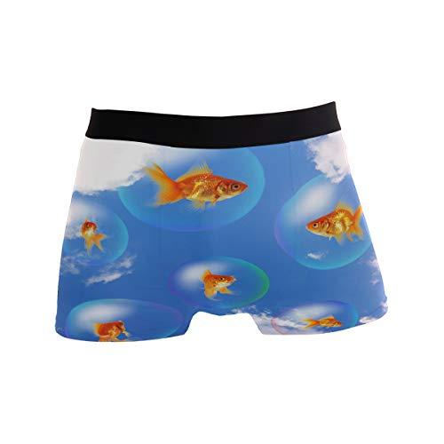 MNSRUU Herren Unterhose Goldfish Fish Bubble Regular Leg Boxer Brief Gr. L, Multi -
