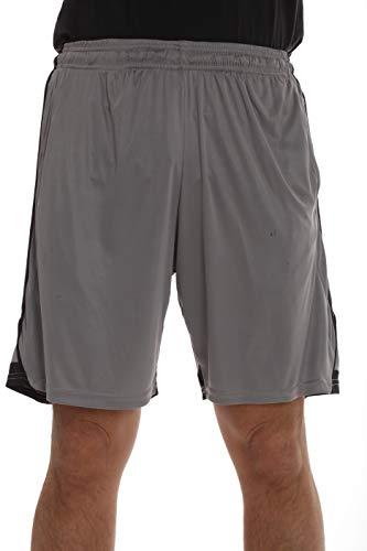 At The Buzzer Herren Active Athletic Stripe Basketball Shorts mit Taschen - grau - Klein