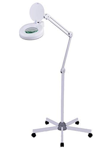 SEMPLIX LED Lupen-Stehlampe 3D weiß (Linse 127 mm/dimmbar/Standfuß mit Rollen) -