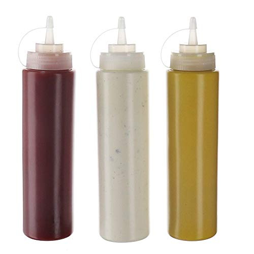 (3pk) 8 oz Plastic Squeeze Squirt Concfiant Flaschen mit Twist On Cap Lids top Spender für Ketchup-Senf Mayo heiße Saucen Olivenöl bulk klarer bpa free bbq Set