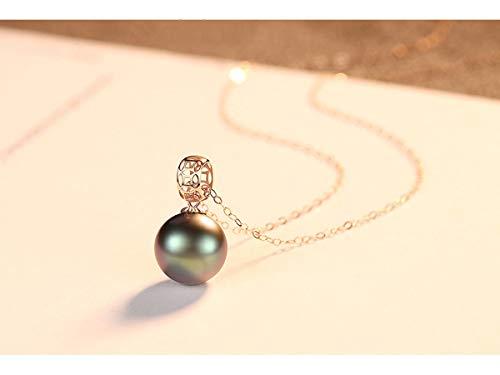 18 Karat Gold Pearls Anhänger Halskette für Damen - Hochwertige AAAA Meerwasser Weiß Akoya/Tahiti Schwarz Perlen aus 18 kt Gold Perlenkette,18 Karat Goldkette ist kostenlos enthalten,Black