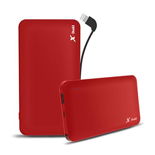 X-dodd 10000mAh Externer Akku Powerbank Batterie Extra mit Integriertem Kabel & Lightning Adapter kompakter als jemals zuvor extrem hohe Kapazität 2A Output Sagitta Portable Ladegerät Technologie für iPhone X 8 8Plus 7 6s 6Plus, iPad, Samsung Galaxy und weitere Smartphones (Rot) (S3 Mini-usa)