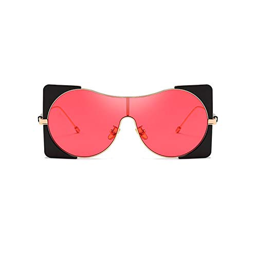Sport-Sonnenbrillen, Vintage Sonnenbrillen, Fashion Women Sunglasses For Men Brand Designer Luxury Oversized Sun Glasses Women Retro Goggles UV400 Oculos Q14 Black-Red