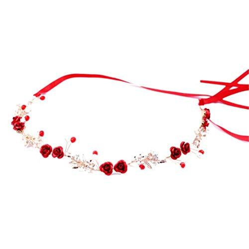 Chinesische Braut Kostüm Kopfschmuck Rote Blume Haarband Hochzeitskleid Zubehör Charming Braut Haarschmuck (Farbe: gold & rot) (Der Rote Wedding Dress Kostüm)
