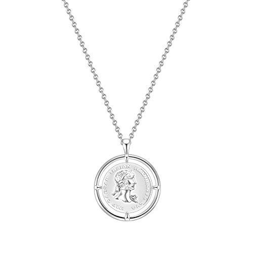 Glanzstücke München Damen-Kette Münze Sterling Silber 925 Julius Caesar - Münzkette für Frauen römisch