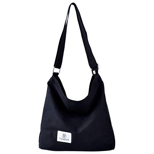 Umhängetasche Damen, Fanspack Canvas Schultertasche Damen Gross Kapazität Damentaschen Stoff Hobo Bag -