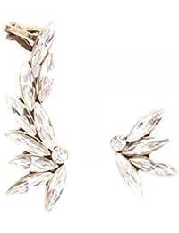 Happiness Boutique Damas Pendientes Ear Cuff Asimétricos con Cristales en Color Claro | Pendientes Ear Crawlers Llamativos en Oro Vintage Libres de Níquel