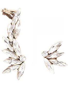 Happiness Boutique Damen Asymmetrische Ear Cuff Ohrringe | Ohrklemmen Strass Ohrstecker in Klarfarbe nickelfrei